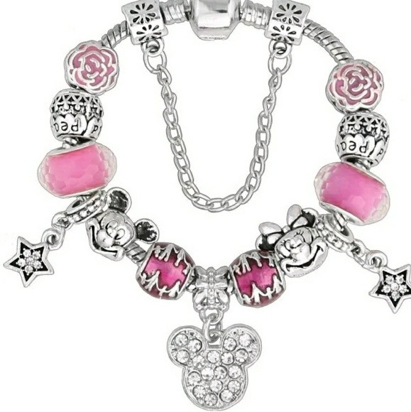 none Jewelry - Pink and Silver Mickey and Minnie Charm Bracelet